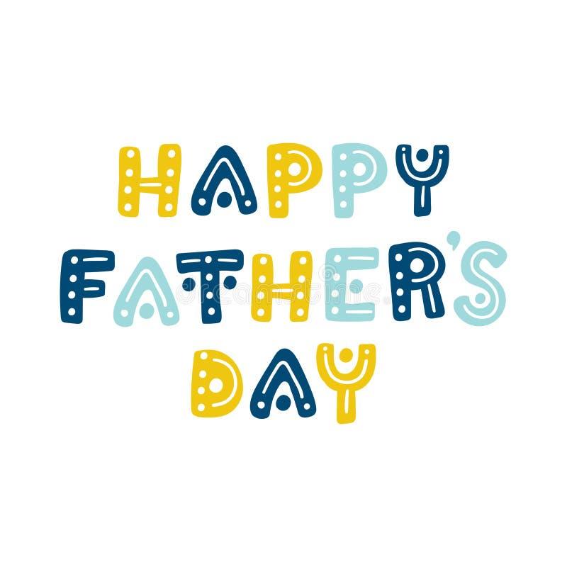 Счастливый день ` s отца Милая нарисованная рука помечает буквами открытку вектора иллюстрация штока