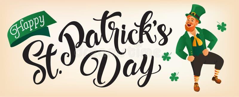 Счастливый день St Patricks помечая буквами с лепреконом скача или танцуя иллюстрация штока