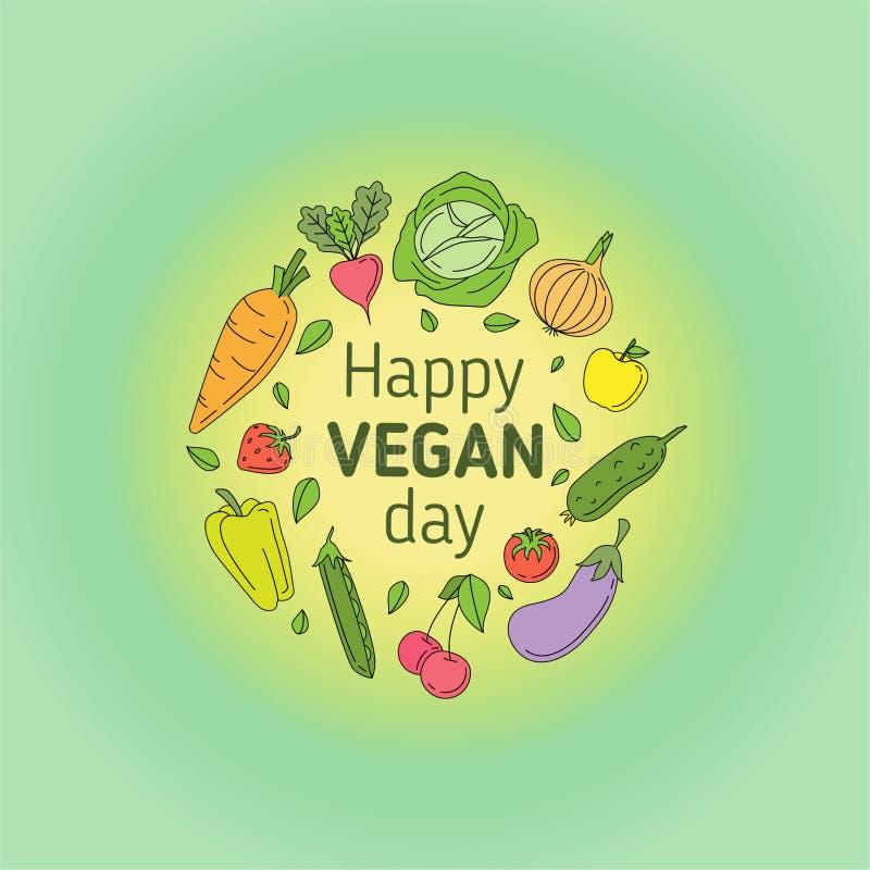 Счастливый день Vegan иллюстрация штока