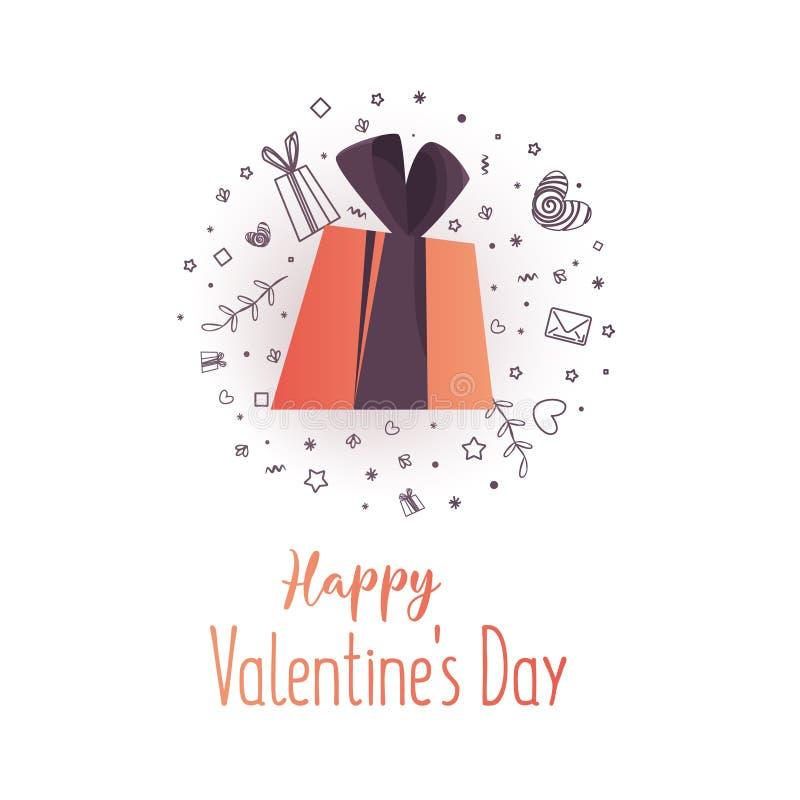 Счастливый дизайн вектора оформления дня Святого Валентина с подарком бесплатная иллюстрация