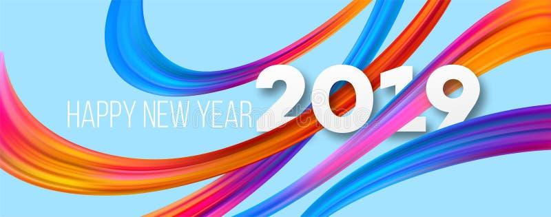 Счастливый дизайн знамени acrylic Нового Года 2019 бесплатная иллюстрация
