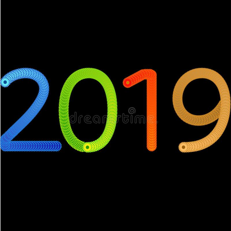 счастливый дизайн карты конспекта Нового Года 2019 с градиентом бесплатная иллюстрация