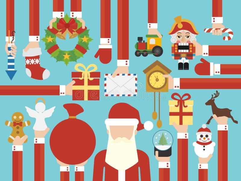 Счастливый дизайн концепции Нового Года плоский с Санта Клаусом бесплатная иллюстрация