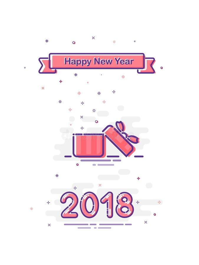 Счастливый дизайн Нового Года 2018 в стиле mbe Vector плоско подарочная коробка и лента раскрытые пинком с счастливым текстом Нов иллюстрация штока