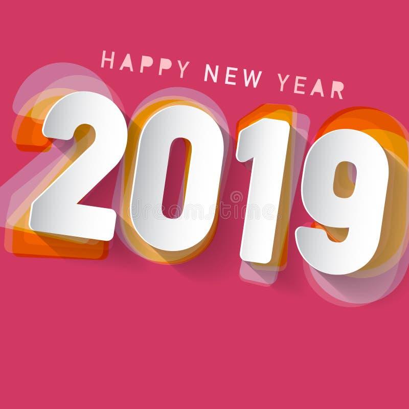 Счастливый дизайн Нового Года 2019 иллюстрация штока