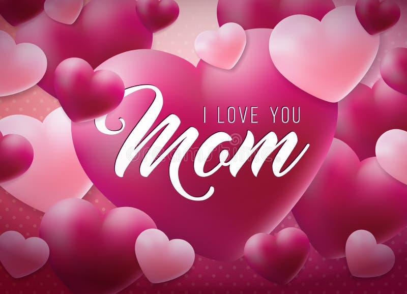 Счастливый дизайн поздравительной открытки дня матерей с сердцем и любит вас элементы мамы типографские на красной предпосылке ве иллюстрация вектора