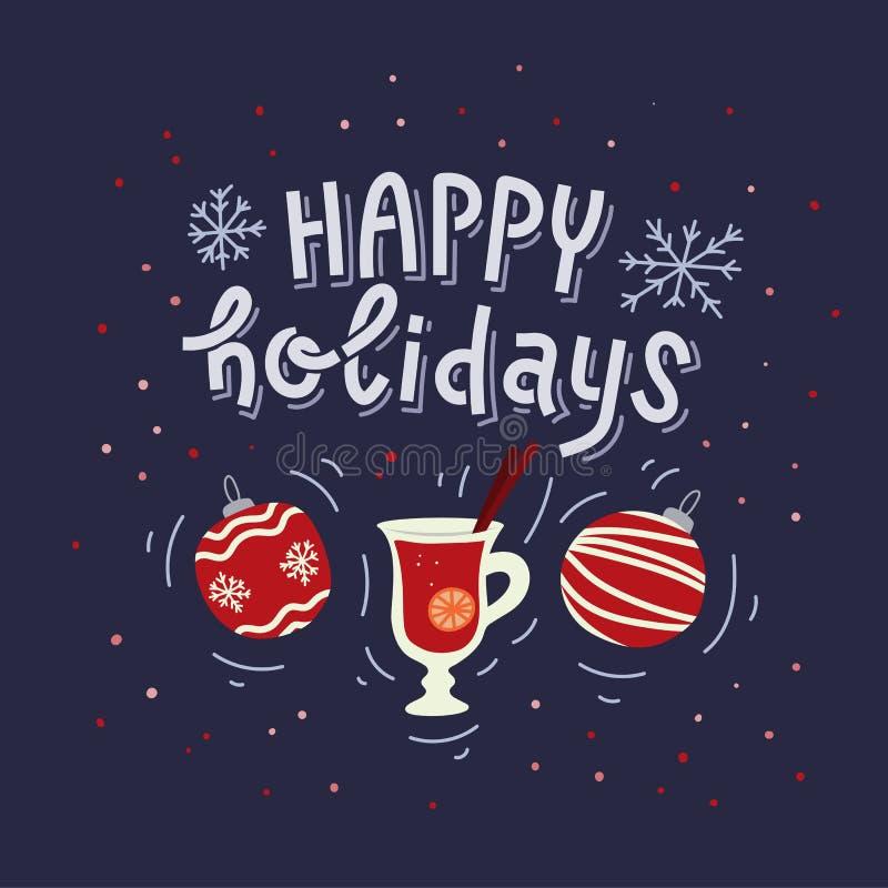 Счастливый дизайн поздравительной открытки или плаката праздников Литерность и шарж написанные рукой doodle символы рождества и Н иллюстрация вектора