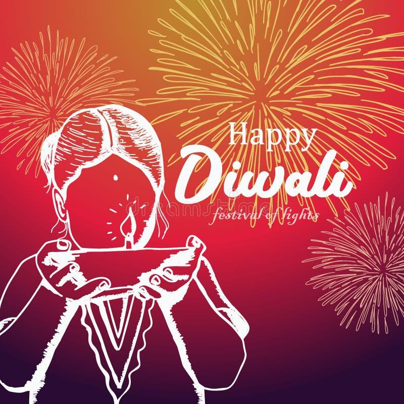 Счастливый дизайн приветствию Diwali с детьми вручает вычерченную и горящую иллюстрацию diya иллюстрация штока