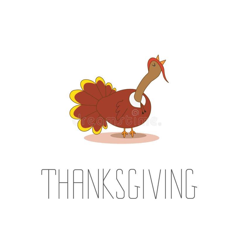 Счастливый дизайн торжества благодарения с шаржем Турцией иллюстрация штока