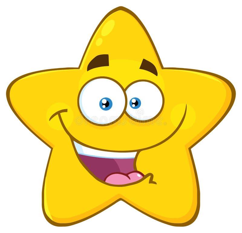 Счастливый желтый шарж Emoji звезды смотрит на характер с выражением иллюстрация вектора