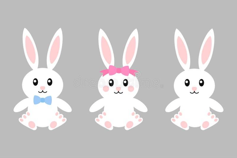 Счастливый зайчик пасхи - набор вектора Зайчики со смычками девушкой и мальчиком зайчик милый Белый изолированный кролик шарж иллюстрация вектора