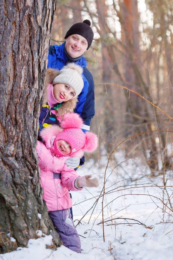 Счастливый зимний день папы и дочери мамы стоковое фото rf