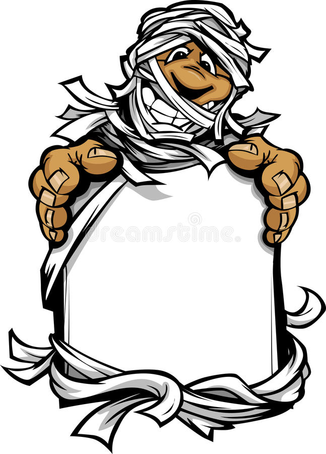 Счастливый знак удерживания изверга Halloween мумии иллюстрация штока