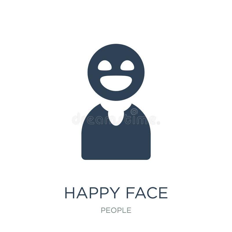 счастливый значок стороны в ультрамодном стиле дизайна счастливый значок стороны изолированный на белой предпосылке счастливый зн бесплатная иллюстрация