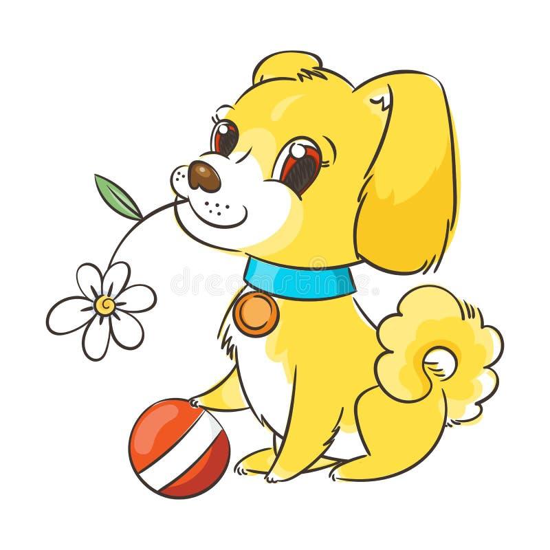 Счастливый золотой щенок шаржа Милый воротник маленькой собаки нося иллюстрация штока