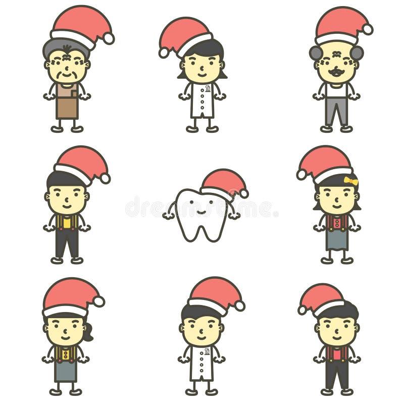 Счастливый зуб, дантист, мальчик, девушка, дети и старшая нося шляпа Санта Клауса для веселого рождества и С Новым Годом! иллюстрация штока