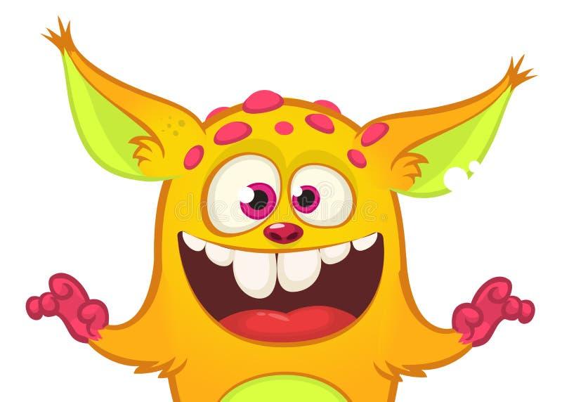 Счастливый изверг апельсина шаржа Иллюстрация вектора хеллоуина excited характера тролля или gremlin Большой комплект извергов ша иллюстрация вектора