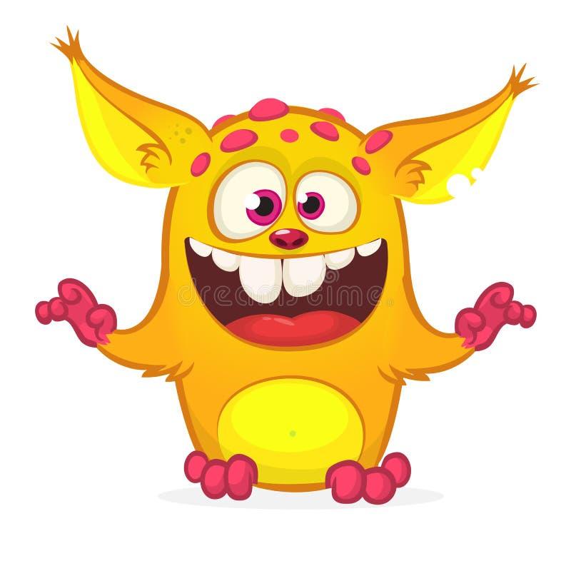 Счастливый изверг апельсина шаржа Иллюстрация вектора хеллоуина excited характера тролля или gremlin Большой комплект извергов ша иллюстрация штока