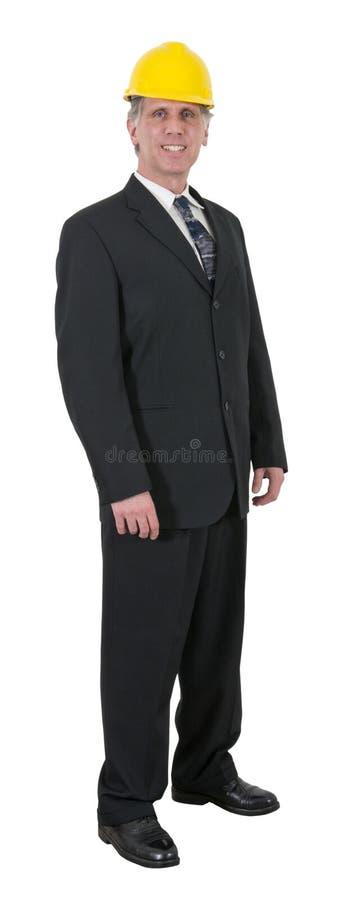 Счастливый изолированный руководитель проекта человека бизнесмена стоковое изображение rf