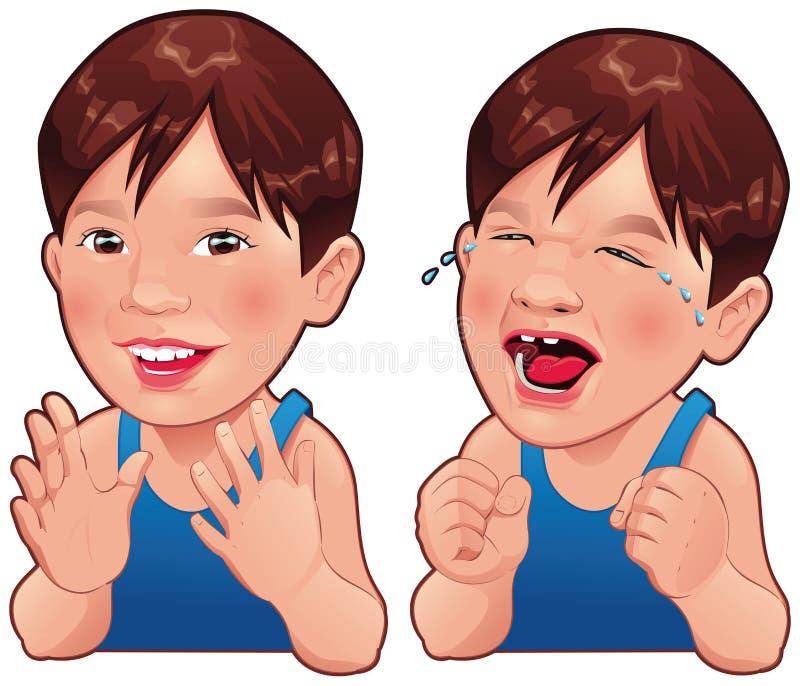 Счастливый и унылый мальчик. иллюстрация вектора