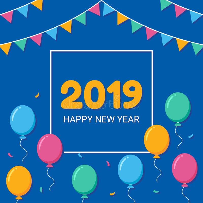 Счастливый кадр Нового Года 2019 с воздушным шаром бесплатная иллюстрация