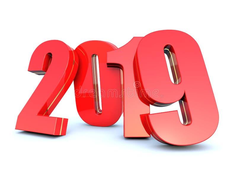 Счастливый календарь Нового Года 2019 иллюстрация штока