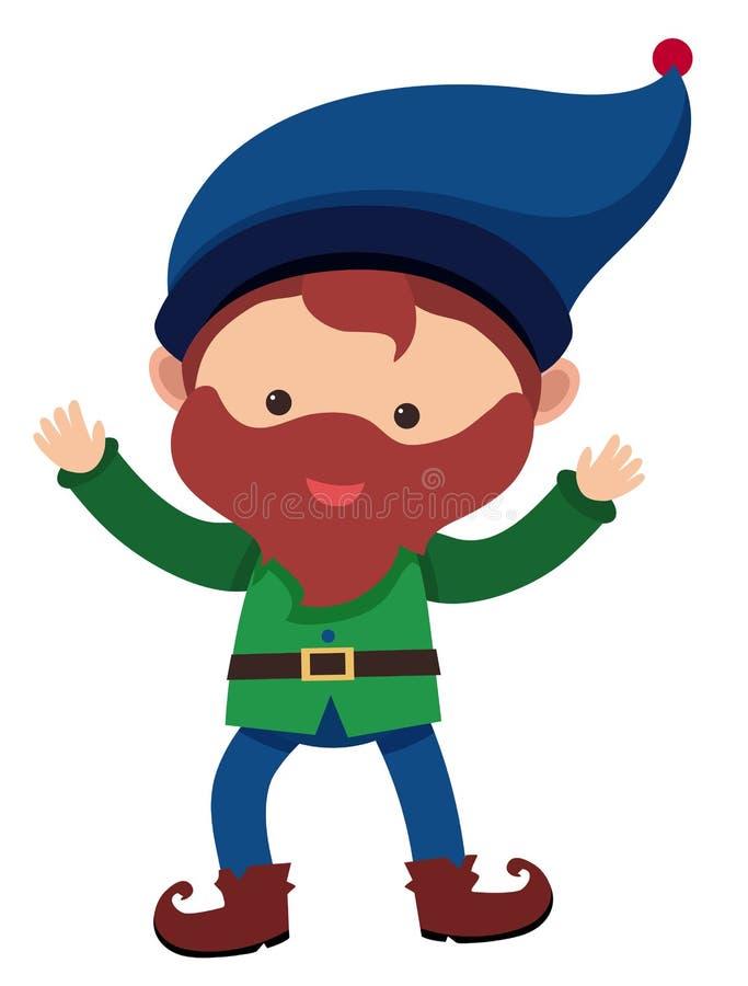 Счастливый карлик с голубой шляпой бесплатная иллюстрация