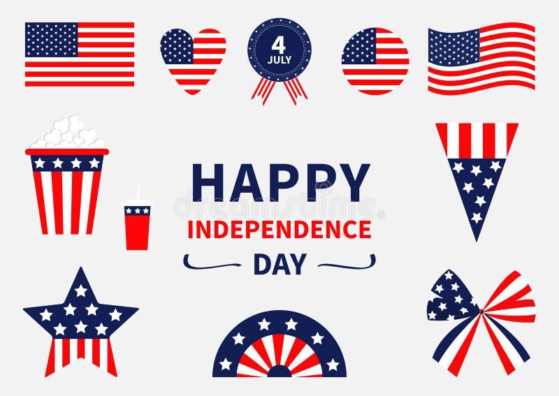 Счастливый комплект значка Дня независимости положения америки соединили 4-ое июля Развевающ, пересеченный американский флаг, сер иллюстрация вектора