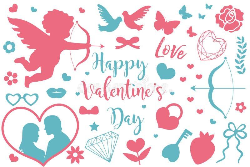 Счастливый комплект значка дня ` s валентинки силуэтов восковки Милое романское собрание влюбленности элементов дизайна с купидон иллюстрация штока