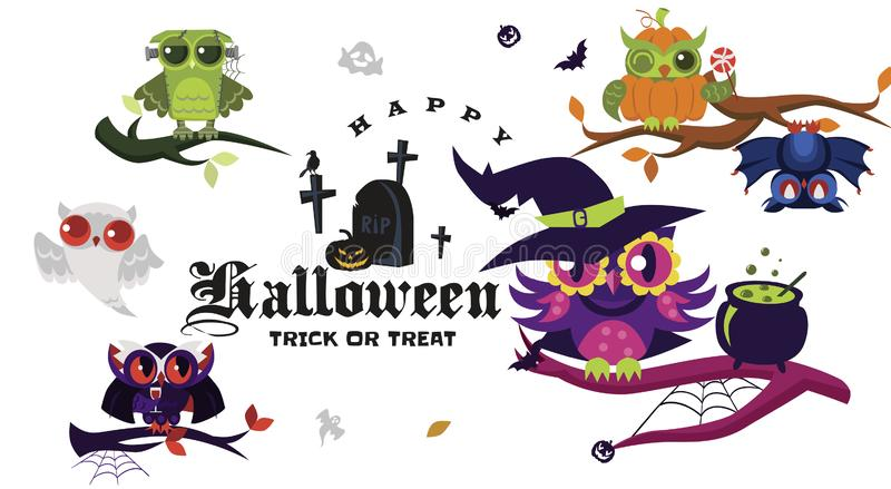 Счастливый комплект квартиры хеллоуина иллюстрация вектора