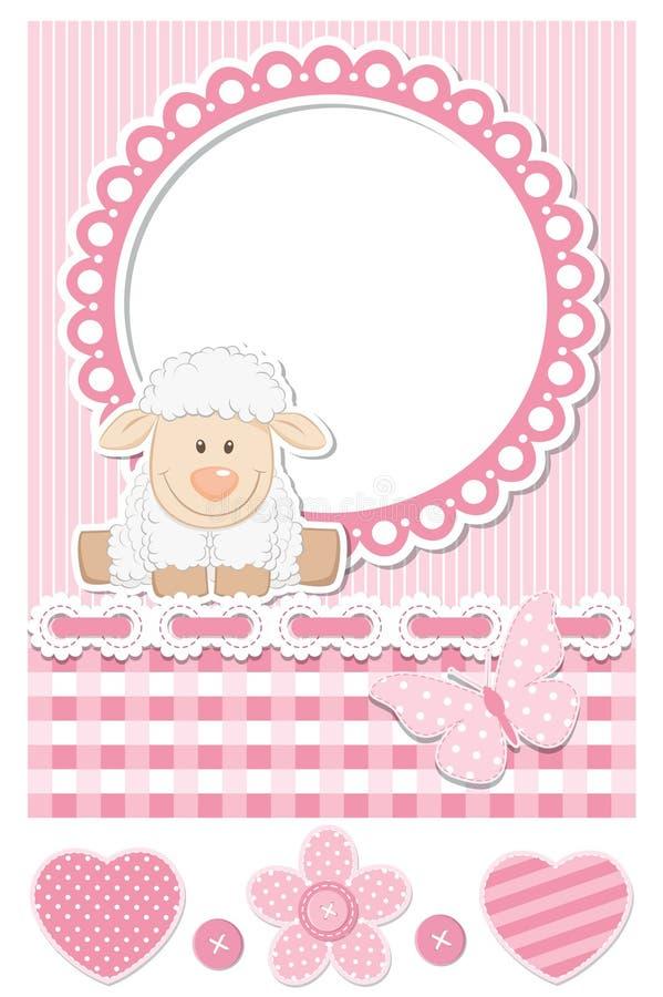 Счастливый комплект scrapbook пинка овец младенца иллюстрация вектора