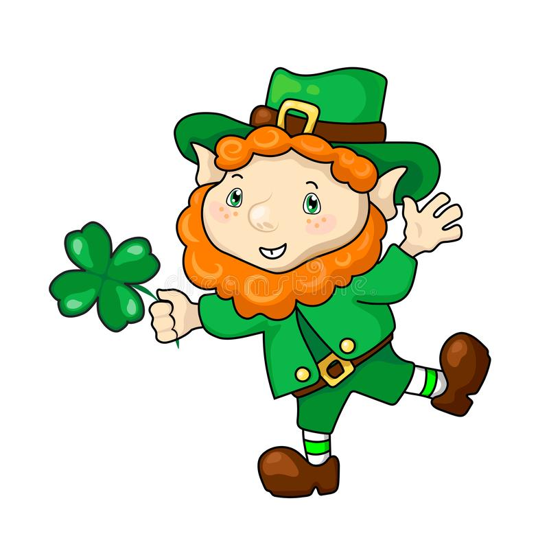Счастливый лепрекон с клевером, иллюстрацией вектора дня St. Patrick на белой предпосылке Смешной карлик в зеленом shamrock иллюстрация вектора