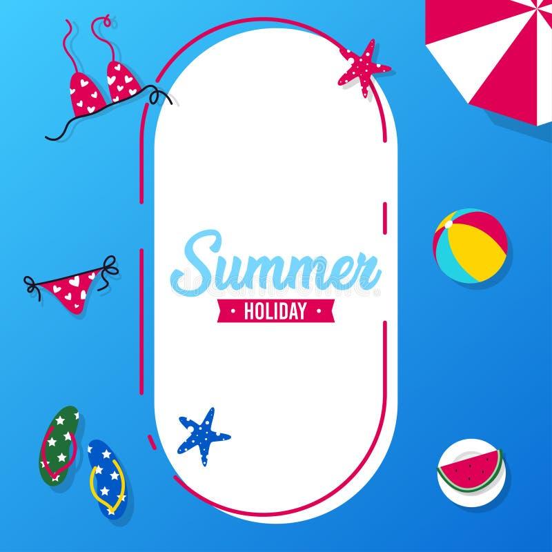 Счастливый летний отпуск в иллюстрации пляжа Тропический праздник в иллюстрации лета иллюстрация вектора