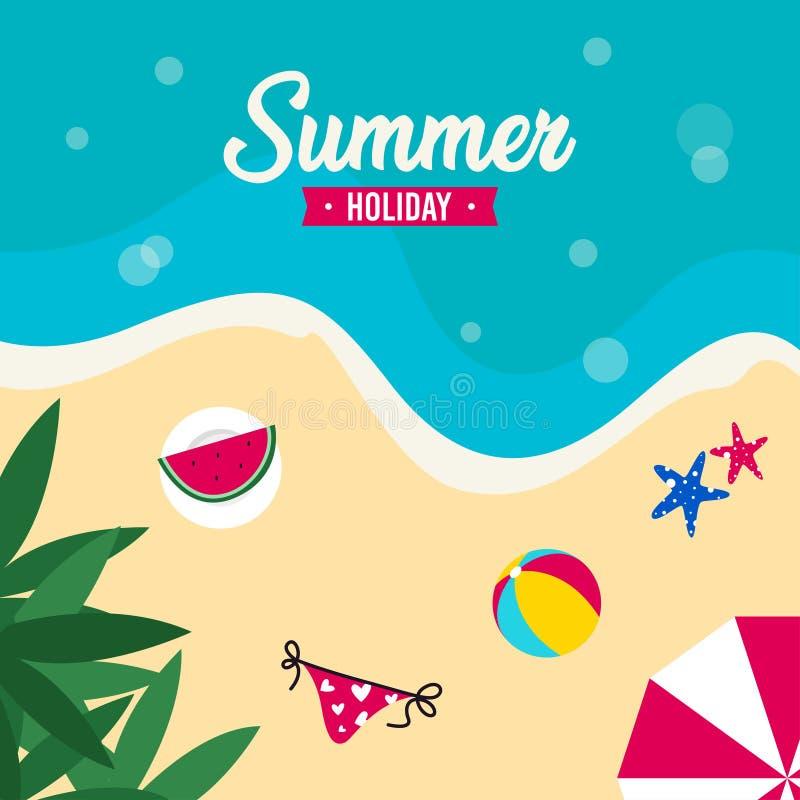 Счастливый летний отпуск в иллюстрации пляжа Тропический праздник в иллюстрации лета иллюстрация штока