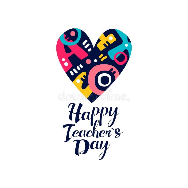 Счастливый логотип дня учителей, творческий шаблон для поздравительной открытки, приглашения, плаката, знамени, вектора дизайна ф иллюстрация штока