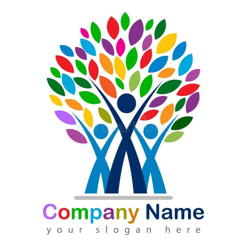 Счастливый логотип фамильного дерев дерева красочный иллюстрация штока