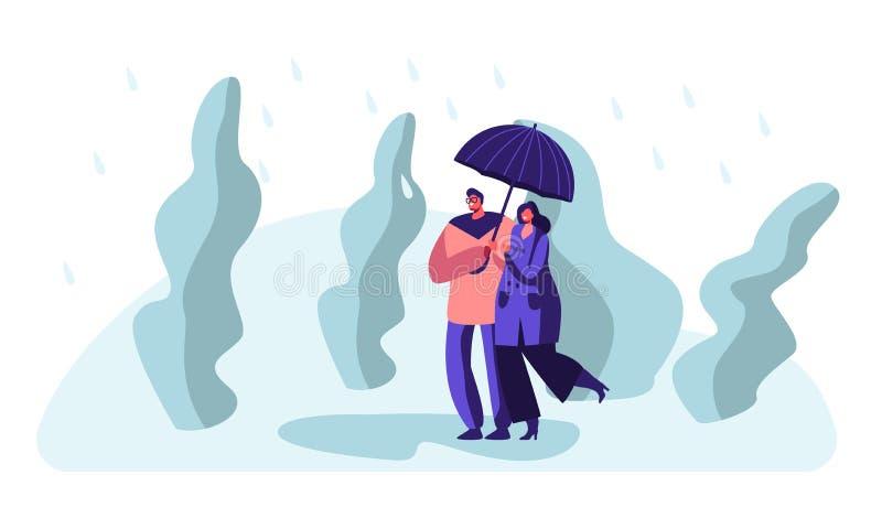 Счастливый любить соединяет удержание рук идя в парк в дождливой погоде под зонтиком, говорить, наслаждаясь отношениями, любовь иллюстрация штока