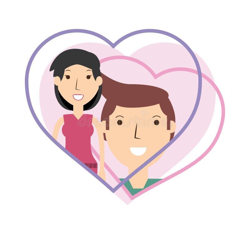 Счастливый любовник пар внутри дизайна сердца бесплатная иллюстрация
