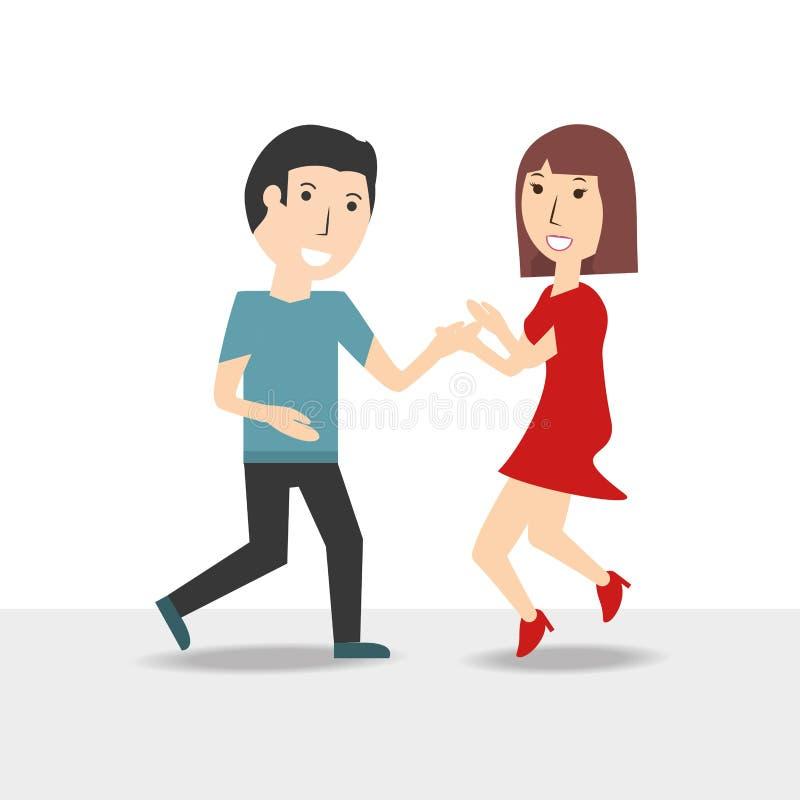 Счастливый любовник пар с романтичным отношением иллюстрация вектора