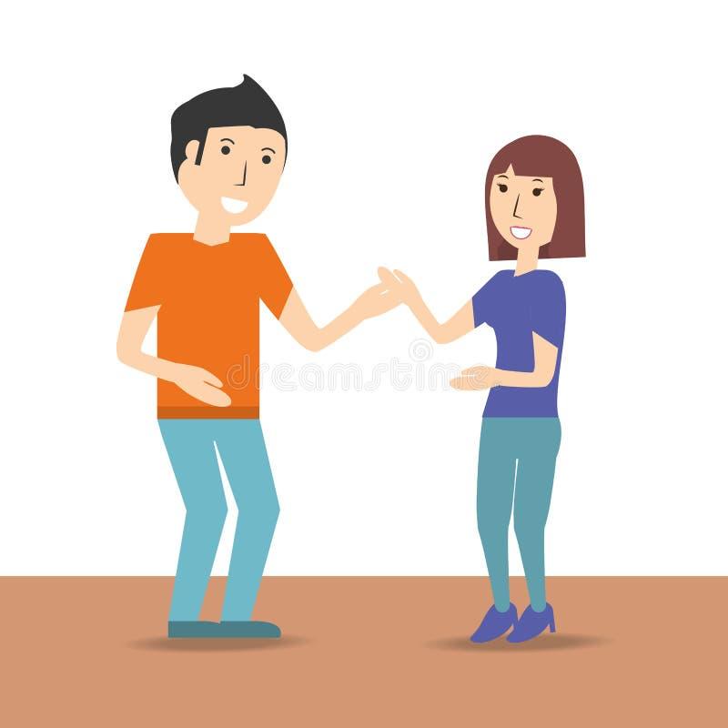 Счастливый любовник пар с романтичным отношением иллюстрация штока