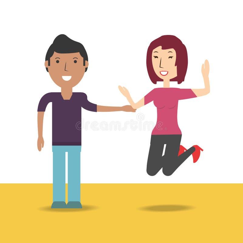 Счастливый любовник пар с романтичным отношением бесплатная иллюстрация