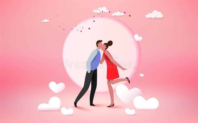 Счастливый любовник пар целуя с сердцем и предпосылкой луны, weddi иллюстрация вектора