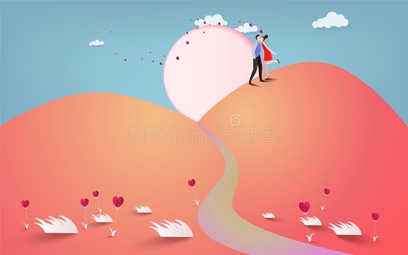 Счастливый любовник пар целуя с сердцем и предпосылкой луны, weddi бесплатная иллюстрация