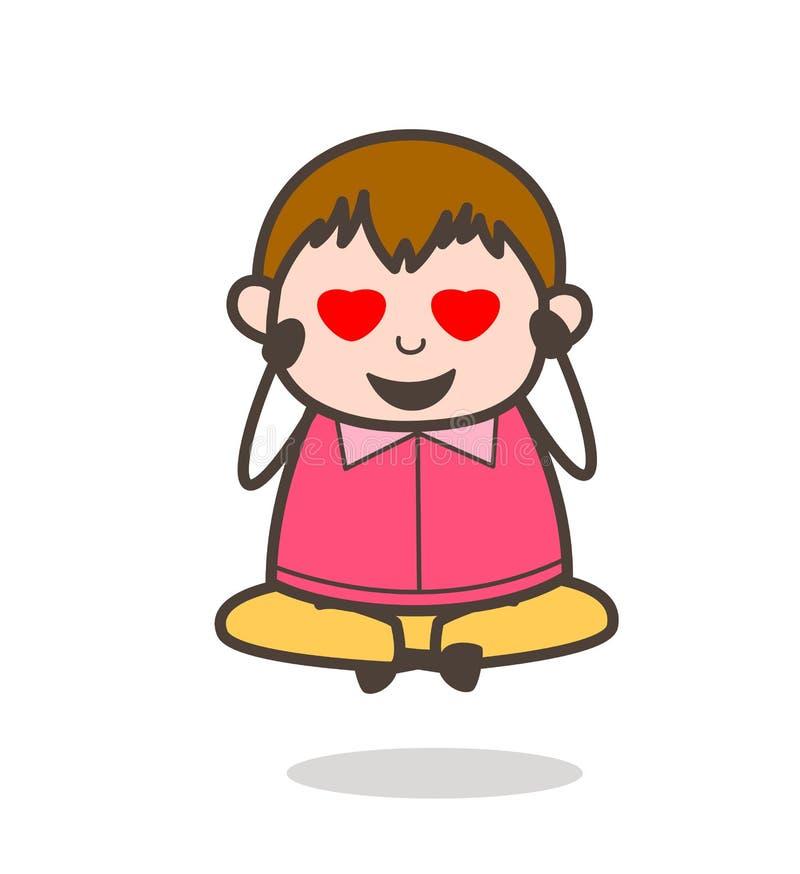 Счастливый любовник с глазами сердца - иллюстрация ребенк милого шаржа тучная иллюстрация штока