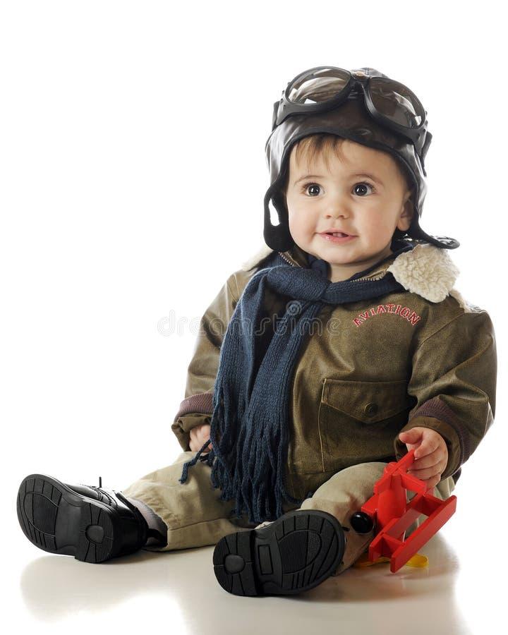 счастливый маленький пилот стоковая фотография rf