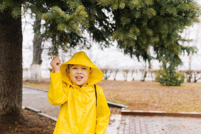 Счастливый мальчик в желтом плаще при клобук вытягивая ветвь gr стоковое фото