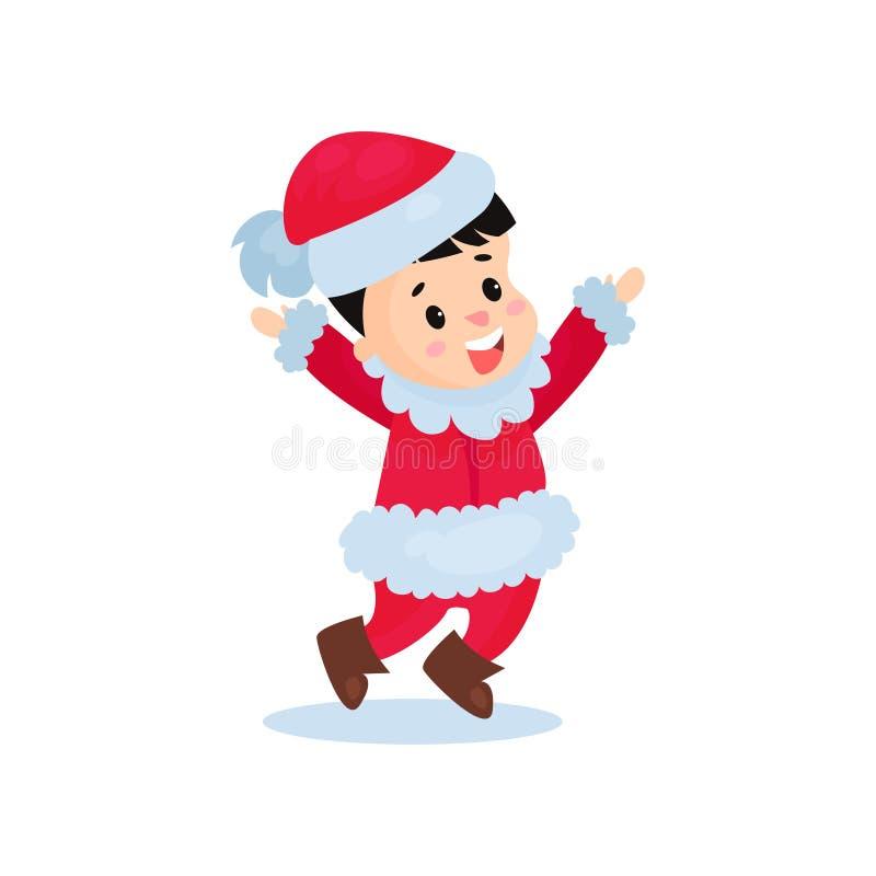 Счастливый мальчик в костюме Санта Клауса, ребенк в праздничной иллюстрации вектора шаржа причудливого платья иллюстрация штока