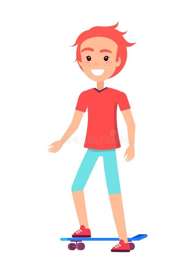 Счастливый мальчик на голубой иллюстрации вектора доски конька иллюстрация вектора
