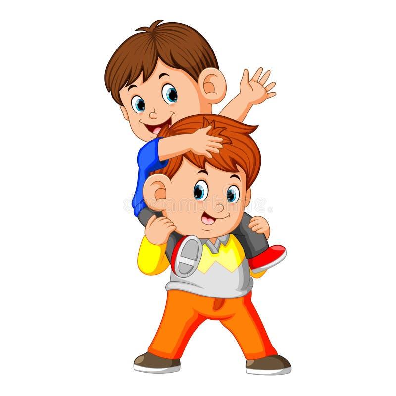 Счастливый мальчик нося ее брата иллюстрация штока