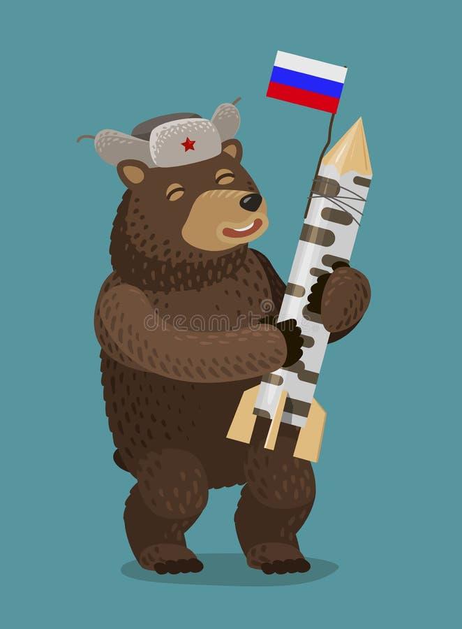 Счастливый медведь держа ракету или ядерную ракету в его лапках Концепция России, Москвы alien кот шаржа избегает вектор крыши ил иллюстрация вектора